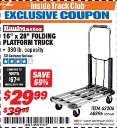 "Harbor Freight ITC Coupon 16"" x 28"" LIGHTWEIGHT FOLDING PLATFORM TRUCK Lot No. 62206/68896 Expired: 4/30/20 - $29.99"