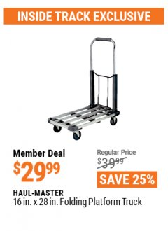 "Harbor Freight ITC Coupon 16"" x 28"" LIGHTWEIGHT FOLDING PLATFORM TRUCK Lot No. 62206/68896 Expired: 4/29/21 - $29.99"