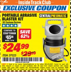 Harbor Freight ITC Coupon PORTABLE ABRASIVE BLASTER KIT Lot No. 37025 Expired: 8/31/19 - $24.99