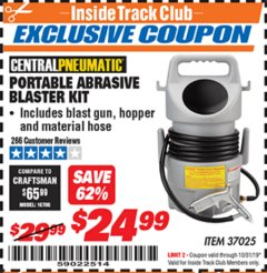 Harbor Freight ITC Coupon PORTABLE ABRASIVE BLASTER KIT Lot No. 37025 Expired: 10/31/19 - $24.99