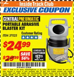 Harbor Freight ITC Coupon PORTABLE ABRASIVE BLASTER KIT Lot No. 37025 Expired: 8/31/18 - $24.99