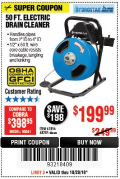 Harbor Freight Coupon 50 FT. ELECTRIC DRAIN CLEANER Lot No. 68285/61856 Expired: 10/28/18 - $199.99