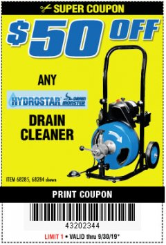 Harbor Freight PERCENT Coupon 50 FT. ELECTRIC DRAIN CLEANER Lot No. 68285/61856 Valid Thru: 9/30/19 - $0