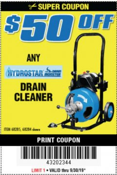 Harbor Freight Coupon 50 FT. ELECTRIC DRAIN CLEANER Lot No. 68285/61856 Valid Thru: 9/30/19 - $0