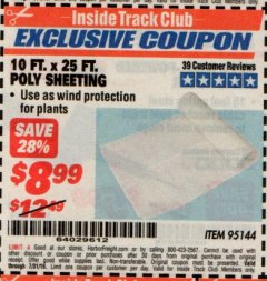 Harbor Freight ITC Coupon 10 FT. x 25 FT. POLY SHEETING Lot No. 95144 Expired: 7/31/19 - $8.99
