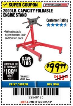 Harbor Freight Coupon 2000 LB. FOLDABLE ENGINE STAND Lot No. 69522/67015/69521 Expired: 5/31/18 - $99.99