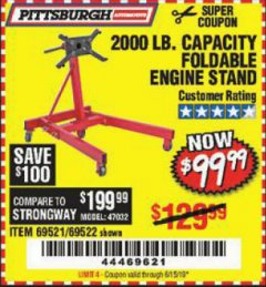 Harbor Freight Coupon 2000 LB. FOLDABLE ENGINE STAND Lot No. 69522/67015/69521 Valid Thru: 6/15/19 - $99.99