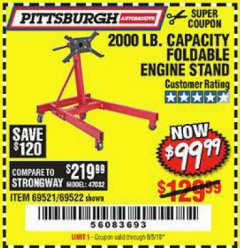 Harbor Freight Coupon 2000 LB. FOLDABLE ENGINE STAND Lot No. 69522/67015/69521 Valid Thru: 8/5/19 - $99.99