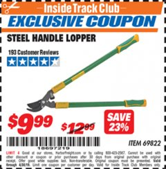 Harbor Freight ITC Coupon STEEL HANDLE LOPPER Lot No. 69822 Expired: 4/30/19 - $9.99