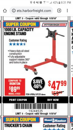 Harbor Freight Coupon 1000 LB. CAPACITY ENGINE STAND Lot No. 32916/69886/69520 Expired: 11/5/18 - $47.99