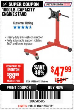 Harbor Freight Coupon 1000 LB. CAPACITY ENGINE STAND Lot No. 32916/69886/69520 Expired: 12/23/18 - $47.99
