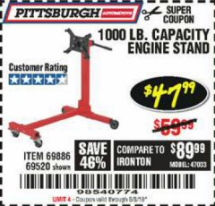 Harbor Freight Coupon 1000 LB. CAPACITY ENGINE STAND Lot No. 32916/69886/69520 Expired: 6/8/19 - $47.99