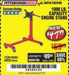 Harbor Freight Coupon 1000 LB. CAPACITY ENGINE STAND Lot No. 32916/69886/69520 Expired: 7/1/19 - $47.99