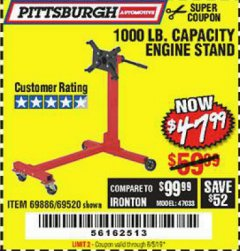 Harbor Freight Coupon 1000 LB. CAPACITY ENGINE STAND Lot No. 32916/69886/69520 Expired: 8/5/19 - $47.99