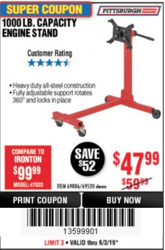 Harbor Freight Coupon 1000 LB. CAPACITY ENGINE STAND Lot No. 32916/69886/69520 Expired: 6/30/19 - $47.99