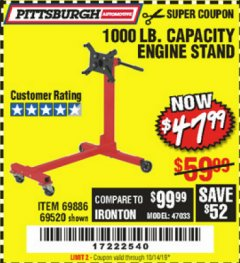 Harbor Freight Coupon 1000 LB. CAPACITY ENGINE STAND Lot No. 32916/69886/69520 Expired: 10/14/19 - $47.99
