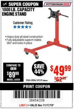 Harbor Freight Coupon 1000 LB. CAPACITY ENGINE STAND Lot No. 32916/69886/69520 Expired: 11/17/19 - $49.99