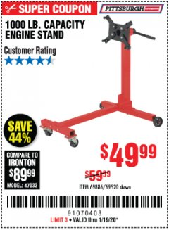 Harbor Freight Coupon 1000 LB. CAPACITY ENGINE STAND Lot No. 32916/69886/69520 Expired: 1/19/20 - $49.99