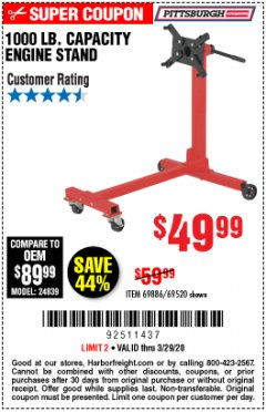 Harbor Freight Coupon 1000 LB. CAPACITY ENGINE STAND Lot No. 32916/69886/69520 Expired: 3/29/20 - $49.99