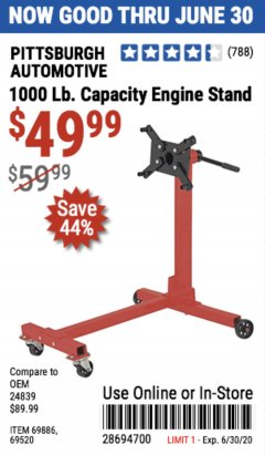 Harbor Freight Coupon 1000 LB. CAPACITY ENGINE STAND Lot No. 32916/69886/69520 Valid Thru: 6/30/20 - $49.99