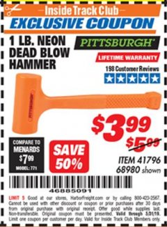 Harbor Freight ITC Coupon 1 LB. NEON DEAD BLOW HAMMER Lot No. 41796/68980 Dates Valid: 12/31/69 - 5/31/19 - $3.99