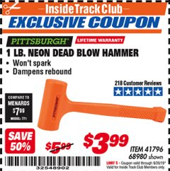 Harbor Freight ITC Coupon 1 LB. NEON DEAD BLOW HAMMER Lot No. 41796/68980 Expired: 9/30/19 - $3.99