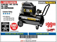 Harbor Freight Coupon 2 HP, 8 GALLON 125 PSI PORTABLE AIR COMPRESSOR Lot No. 67501/68740/69667/40400/95386 Expired: 6/10/18 - $99.99