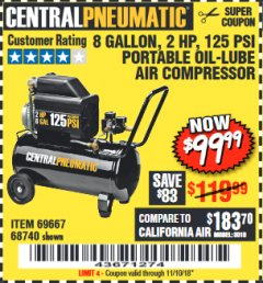 Harbor Freight Coupon 2 HP, 8 GALLON 125 PSI PORTABLE AIR COMPRESSOR Lot No. 67501/68740/69667/40400/95386 Expired: 11/10/18 - $99.99