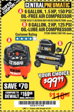 Harbor Freight Coupon 2 HP, 8 GALLON 125 PSI PORTABLE AIR COMPRESSOR Lot No. 67501/68740/69667/40400/95386 Expired: 9/1/18 - $99.99