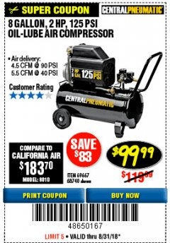 Harbor Freight Coupon 2 HP, 8 GALLON 125 PSI PORTABLE AIR COMPRESSOR Lot No. 67501/68740/69667/40400/95386 Expired: 8/31/18 - $99.99
