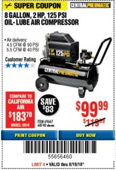 Harbor Freight Coupon 2 HP, 8 GALLON 125 PSI PORTABLE AIR COMPRESSOR Lot No. 67501/68740/69667/40400/95386 Expired: 8/19/18 - $99.99