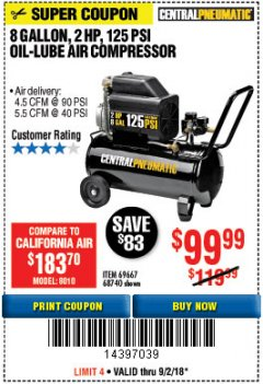 Harbor Freight Coupon 2 HP, 8 GALLON 125 PSI PORTABLE AIR COMPRESSOR Lot No. 67501/68740/69667/40400/95386 Expired: 9/2/18 - $99.99