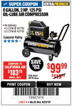 Harbor Freight Coupon 2 HP, 8 GALLON 125 PSI PORTABLE AIR COMPRESSOR Lot No. 67501/68740/69667/40400/95386 Expired: 9/23/18 - $99.99