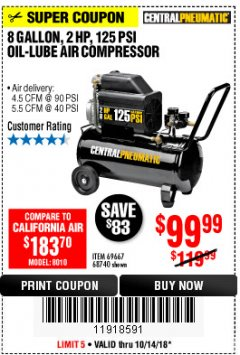 Harbor Freight Coupon 2 HP, 8 GALLON 125 PSI PORTABLE AIR COMPRESSOR Lot No. 67501/68740/69667/40400/95386 Expired: 10/14/18 - $99.99