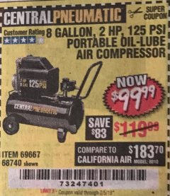 Harbor Freight Coupon 2 HP, 8 GALLON 125 PSI PORTABLE AIR COMPRESSOR Lot No. 67501/68740/69667/40400/95386 Expired: 2/5/19 - $99.99