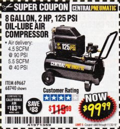 Harbor Freight Coupon 2 HP, 8 GALLON 125 PSI PORTABLE AIR COMPRESSOR Lot No. 67501/68740/69667/40400/95386 Expired: 11/30/18 - $99.99