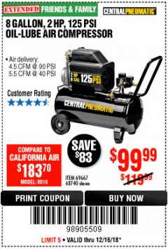 Harbor Freight Coupon 2 HP, 8 GALLON 125 PSI PORTABLE AIR COMPRESSOR Lot No. 67501/68740/69667/40400/95386 Expired: 12/16/18 - $99.99