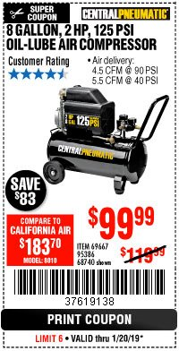 Harbor Freight Coupon 2 HP, 8 GALLON 125 PSI PORTABLE AIR COMPRESSOR Lot No. 67501/68740/69667/40400/95386 Expired: 1/20/19 - $99.99