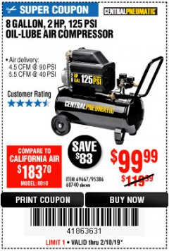 Harbor Freight Coupon 2 HP, 8 GALLON 125 PSI PORTABLE AIR COMPRESSOR Lot No. 67501/68740/69667/40400/95386 Expired: 2/10/19 - $99.99