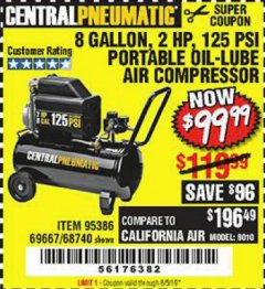 Harbor Freight Coupon 2 HP, 8 GALLON 125 PSI PORTABLE AIR COMPRESSOR Lot No. 67501/68740/69667/40400/95386 Expired: 8/5/19 - $99.99
