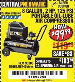 Harbor Freight Coupon 2 HP, 8 GALLON 125 PSI PORTABLE AIR COMPRESSOR Lot No. 67501/68740/69667/40400/95386 Expired: 7/19/19 - $99.99