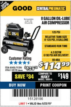 Harbor Freight Coupon 2 HP, 8 GALLON 125 PSI PORTABLE AIR COMPRESSOR Lot No. 67501/68740/69667/40400/95386 Expired: 6/23/19 - $114.99