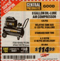 Harbor Freight Coupon 2 HP, 8 GALLON 125 PSI PORTABLE AIR COMPRESSOR Lot No. 67501/68740/69667/40400/95386 Expired: 7/31/19 - $114.99