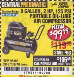 Harbor Freight Coupon 2 HP, 8 GALLON 125 PSI PORTABLE AIR COMPRESSOR Lot No. 67501/68740/69667/40400/95386 Expired: 9/14/19 - $99.99