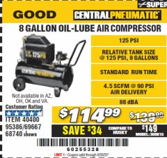 Harbor Freight Coupon 2 HP, 8 GALLON 125 PSI PORTABLE AIR COMPRESSOR Lot No. 67501/68740/69667/40400/95386 Valid Thru: 6/30/20 - $114.99