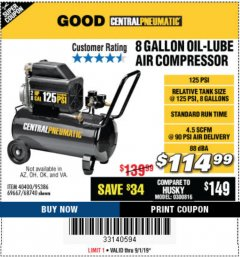 Harbor Freight Coupon 2 HP, 8 GALLON 125 PSI PORTABLE AIR COMPRESSOR Lot No. 67501/68740/69667/40400/95386 Expired: 9/1/19 - $114.99