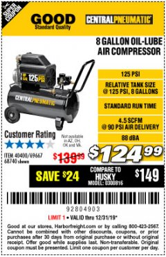 Harbor Freight Coupon 2 HP, 8 GALLON 125 PSI PORTABLE AIR COMPRESSOR Lot No. 67501/68740/69667/40400/95386 Valid Thru: 12/31/19 - $124.99
