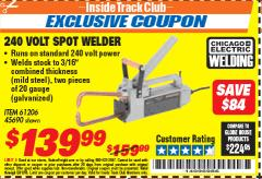 Harbor Freight ITC Coupon 240 VOLT SPOT WELDER Lot No. 45690/61206 Expired: 5/31/18 - $139.99