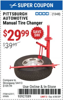 Harbor Freight Coupon TIRE CHANGERS Lot No. 62317/69686 EXPIRES: 6/30/20 - $29.99