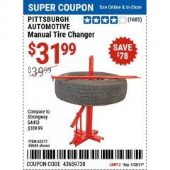 Harbor Freight Coupon TIRE CHANGERS Lot No. 62317/69686 Valid Thru: 1/28/21 - $31.99